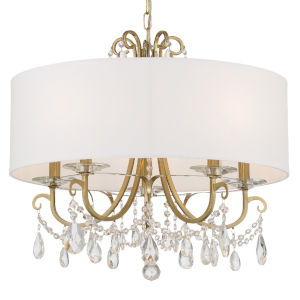 Othello Vibrant Gold 21-Inch Five-Light Swarovski Strass Crystal Chandelier