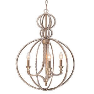 Garland Distressed Twilight Three-Light Pendant with Clear Beads