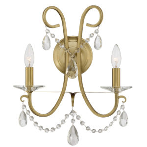 Othello Vibrant Gold 15-Inch Two-Light Wall Sconce