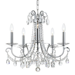 Othello Polished Chrome 21-Inch Five-Light Clear Spectra Crystal Chandelier