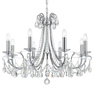 Othello Polished Chrome Eight Light Chandelier with Clear Spectra Crystal