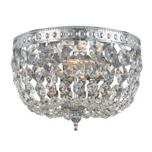 Richmond Polished Chrome Two-Light Clear Hand Cut Crystal Basket