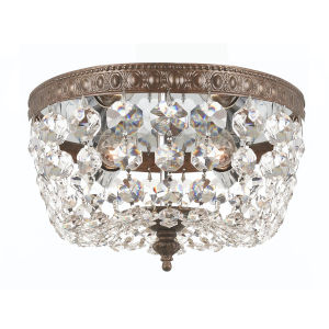 English Bronze Two-Light Flush Mount with Clear Strass Crystal