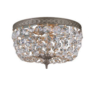 Richmond English Bronze Two-Light Crystal Basket Flush Mount with Swarovski Strass Crystal