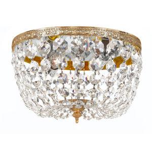 Cortland Olde Brass Two-Light Crystal Flush Mount