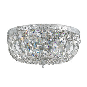 Richmond Polished Chrome Three-Light Crystal Basket Flush Mount with Swarovski Spectra Crystal
