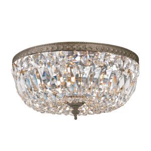 Richmond Majestic Wood Polished Crystal English Bronze Three-Light Flush Mount