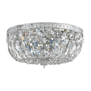 Richmond Polished Chrome Three-Light Crystal Basket with Hand Polished Crystal