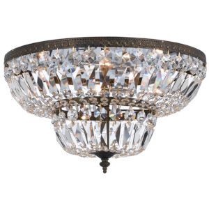 Richmond English Bronze Four Light Flush Mount with Clear Spectra Crystal