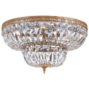 Richmond Olde Brass Eight-Light Crystal Basket Flush Mount with Swarovski Strass Crystal