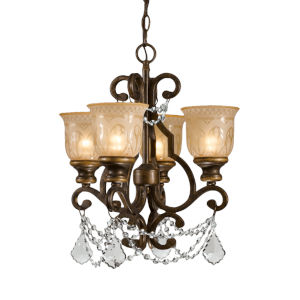 Norwalk Bronze Umber Four-Light Chandelier with Swarovski Strass Crystal