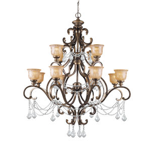 Norwalk Bronze Umber Twelve-Light Chandelier with Hand Polished Crystal