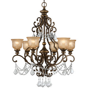 Norwalk Bronze Umber Six-Inch Chandelier with Clear Italian Crystal.
