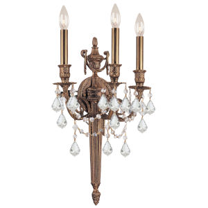 Arlington Matte Brass Three-Light Wall Sconce with Hand Polished Crystal