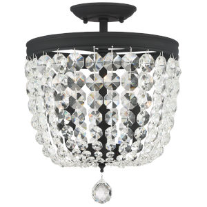 Archer Black Forged 12-Inch Three-Light Swarovski Spectra Crystal Semi Flushmount