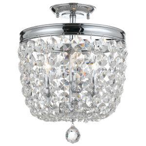 Archer Polished Chrome Three Light Flush Mount with Clear Swarovski Strass Crystal