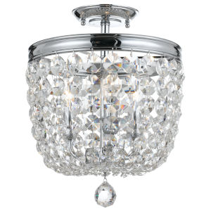Archer Polished Chrome Three Light Flush Mount with Clear Spectra Crystal