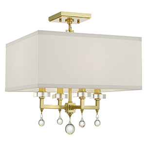 Paxton Antique Gold Four-Light Semi Flush Mount
