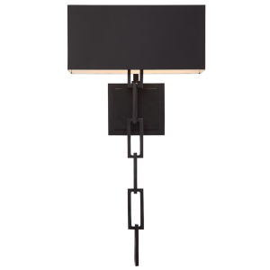 Alston Two-Light Matte Black & White Wall Sconce