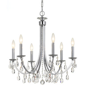 Bridgehampton Polished Chrome 26-Inch Six-Light Faceted Crystal Chandelier