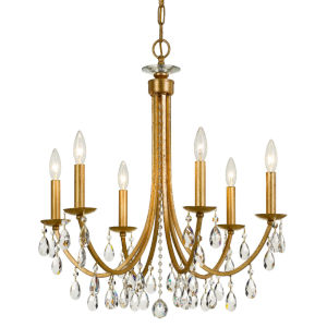 Bridgehampton Antique Gold 26-Inch Six-Light Faceted Crystal Chandelier