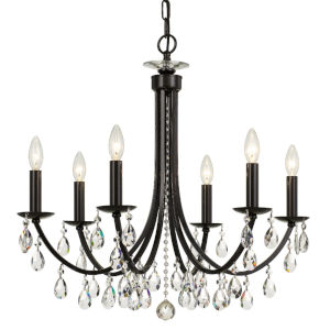 Bridgehampton Vibrant Bronze 26-Inch Six-Light Hand Cut Crystal Chandelier