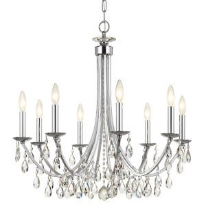 Bridgehampton Polished Chrome 28-Inch Eight-Light Faceted Crystal Chandelier