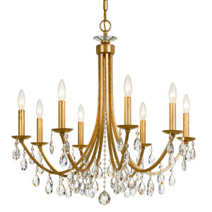 Bridgehampton Antique Gold 28-Inch Eight-Light Faceted Crystal Chandelier