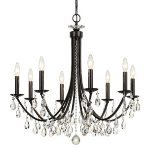 Bridgehampton Vibrant Bronze 28-Inch Eight-Light Hand Cut Crystal Chandelier