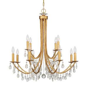 Bridgehampton Antique Gold 32-Inch 12-Light Swarovski Strass Crystal Chandelier