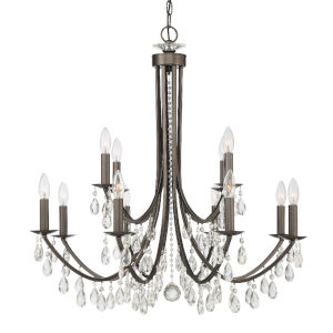 Bridgehampton Vibrant Bronze 32-Inch 12-Light Swarovski Strass Crystal Chandelier