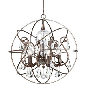Solaris English Bronze Five Light Chandelier with Clear Swarovski Strass Crystal