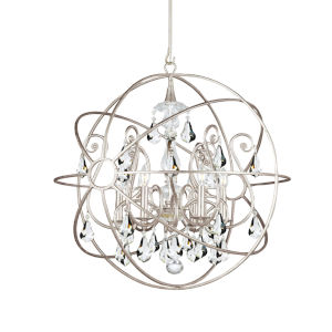 Solaris Olde Silver Five Light Chandelier with Clear Swarovski Strass Crystal