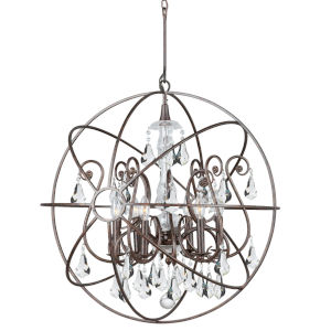 Solaris English Bronze Six Light Chandelier with Clear Swarovski Strass Crystal