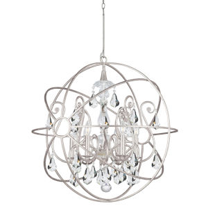 Solaris Olde Silver Six Light Chandelier with Clear Swarovski Strass Crystal