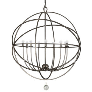 Solaris English Bronze Wrought Iron Nine-Light Pendant with Glass Ball Accent