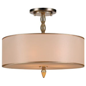 Luxo Antique Brass Three-Light Semi Flush Mount