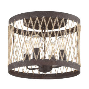 Anders Forged Bronze 16-Inch Four-Light Flush Mount
