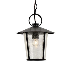 Andover Matte Black One-Light Outdoor Pendant