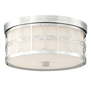 Anniversary Polished Nickel Two-Light Drum Flush Mount