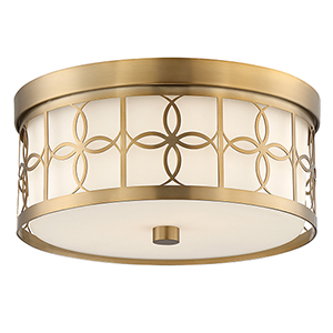 Anniversary Vibrant Gold Two-Light Drum Flush Mount