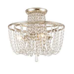Arcadia Antique Silver Three-Light Semi Flush Mount