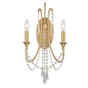 Arcadia Antique Gold 11-Inch Two-Light Wall Sconce