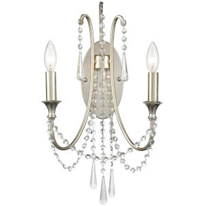 Arcadia Antique Silver Two-Light Wall Sconces