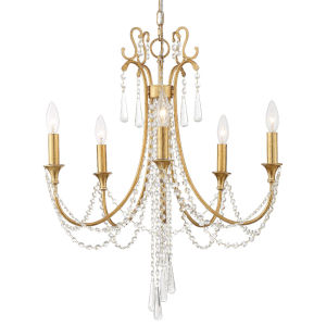 Arcadia Antique Gold 24-Inch Five-Light Chandelier