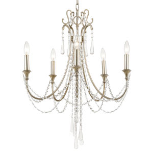 Arcadia Antique Silver Five-Light Chandelier