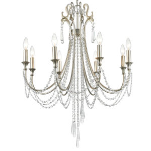 Arcadia Antique Silver Eight-Light Chandeliers