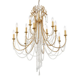 Arcadia Antique Gold 33-Inch 12-Light Chandelier