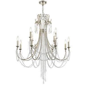 Arcadia Antique Silver 12-Light Chandeliers