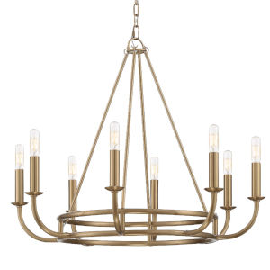Bailey Aged Brass 28-Inch Eight-Light Chandelier